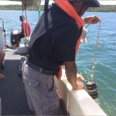 Water quality sampling on Lake Nhlange
